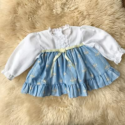 Vintage Baby Girl Prarie Dress White Blue Yellow Ruffles (3 Months?) Baby Doll
