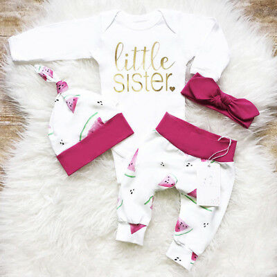 0-18M Newborn Baby Girl Outfit Clothes Romper Top + Pants + Hat 3pcs Outfits Set