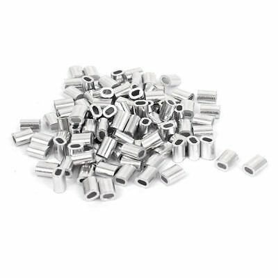 100 Pcs 1mm Steel Wire Rope Aluminum Ferrules Sleeves Silver Tone G3M7
