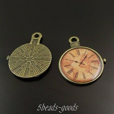 10pcs Antiqued Bronze Alloy Round Glue Watch Pendant Charms 27*25*2mm 37960