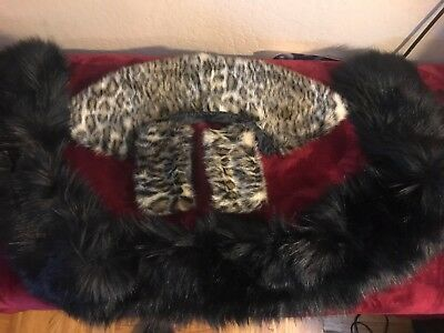 faux fur collars and cuffs One black and leopard with leopard faux fur cuffs