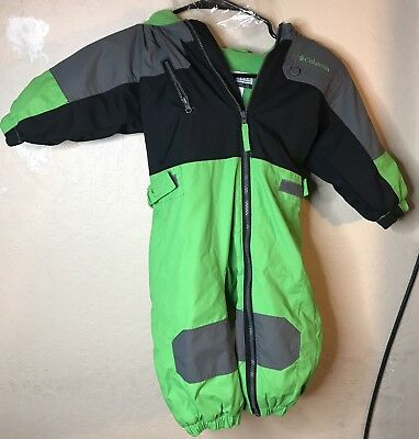 COLUMBIA snow suit toddler size 18 months green black Grey  hooded thick