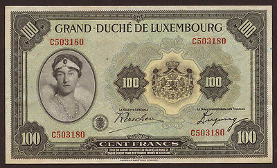 Luxembourg 100 Francs (1934) XF+  P.39