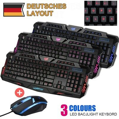 Game Tastatur Keyboard USB Kabel Beleuchtet Gamer 3 Color Maus Deutsches Layout