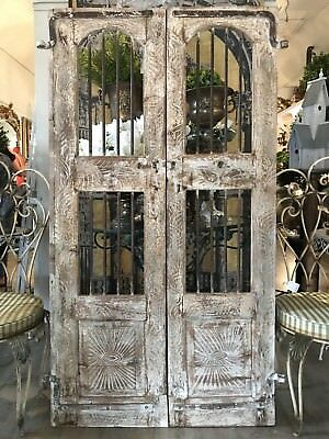 Pair of Antique Indian Timber Doors Boho Rustic