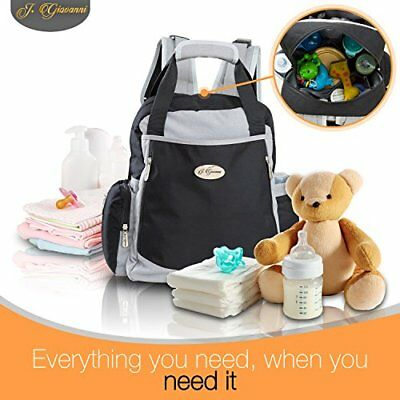 Travel WASHABLE Backpack Diaper Nappy Bag W Stroller Straps & Baby Changing Pad