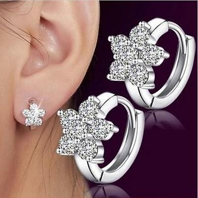 Fashion Women Girl 925 Silver Plated Snowflake Crystal Zircon Ear Hoop Gift