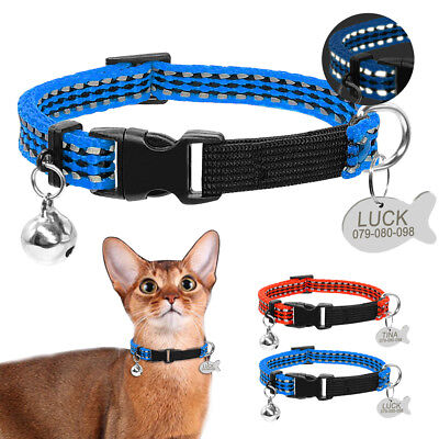 Reflective Cat Dog Collars with ID Tag Engraved for Small Puppy Kitten Chihuahua