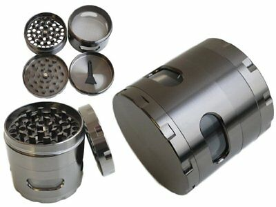 New 55mm  4 Layers Zinc Alloy Hand Crank Herb Spice Crusher Grinder US