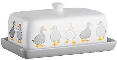 Price & Kensington Madison Butter Dish With Lid Stoneware Duck With Polka Dot