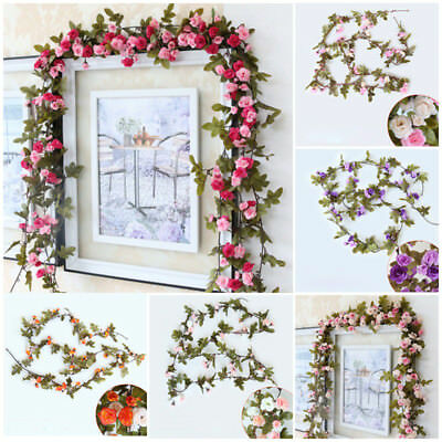 2.3M Artificial Fake Silk Rose Flower Ivy Vine Leaf Hanging Decors Wedding Party