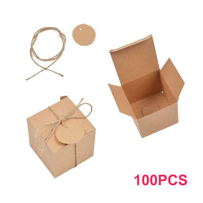 100Pcs Rustic Kraft Paper Candy Gift Boxes Wedding Birthday Baby Shower Favor AU