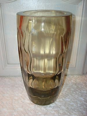 "Antique/vtg Bohemian Czech Art Deco Vase~Rare Citrine Color~9 3/4"" Tall~Moser ??"