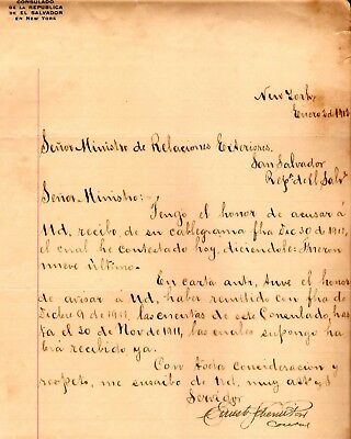 1912 Consul of El Salvador in New York Signed letter to Minister