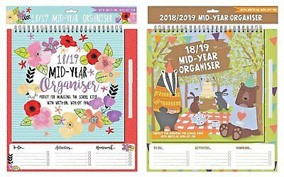 2018-2019 Academic Calendar Mid-Year Organiser Home-School Planner with Pen Wire