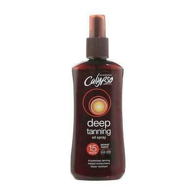 ** CALYPSO DEEP TAN BRONZING OIL 15 MEDIUM 200ml NEW ** MONOI TAHITI