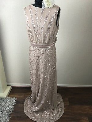 Bnwot Maya Asos Red Carpet Vintage Maxi Flapper Evening Gown Dress Gatsby Sequin