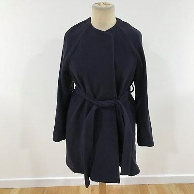 NEW ISABELLA OLIVER Navy Blue Collarless Maternity Coat Jacket Size 4 UK 14 4989