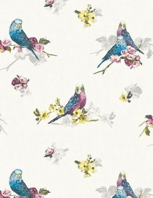 Grey Blue Birds Wallpaper Budgie Animals White Flowers Floral Feature Wall