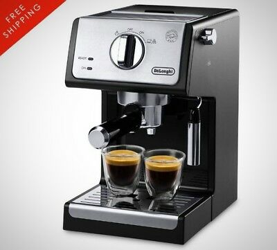 Delonghi 15 Bar Pump Espresso And Cuccino Machine In Black Stainless Steel