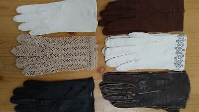 Ladies Vintage gloves Leather, cloth, crocheted 6 Pairs