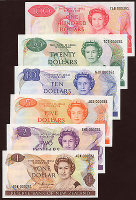 New Zealand matching numbers Set (1985-89) 000361 Sig. Russell UNC P.169-175