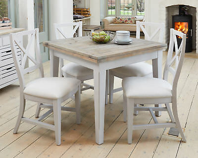 Signature Grey Painted Furniture Square Wood Extending 4 - 6 Seater Dining Table