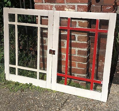 Pair Antique Cabinet Pantry Glass Doors Kitchen Cupboard Old Vtg