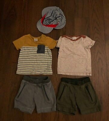 Lot Of 5 Pieces Hanna Andersson Boy Tops Bottoms And Hats Size 85-90
