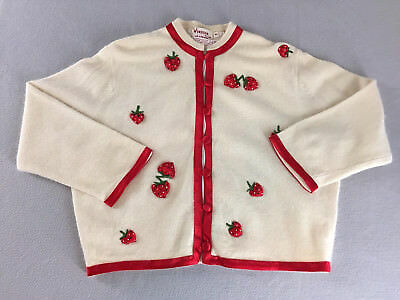 Vtg 50s 60s Sweater Cardigan Cream Red Trim Embroidered Strawberries Tag Size 42