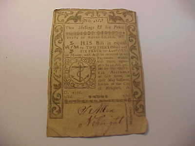 1786 COLONIAL  CURRENCY 2S/6d RI- 293  RHODE ISLAND  RARE NOTE NO BACK
