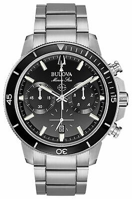 Bulova Men's Marine Star Black Dial Silver Tone Chronograph Watch 96B272