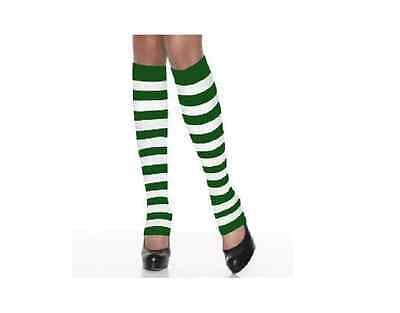 Women sexy Legwarmers Green/White Striped St. Patrick's Patty's Day Work Out
