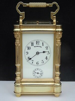 Superb Antique Tiffany & Co. 8 Day Striking Repeater Alarm Brass Carriage Clock