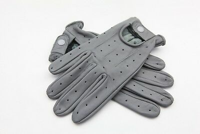 Gray New Real Soft Leather Mens Driving Fashion Gloves
