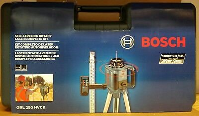 Bosch 1000' Beam Self-Leveling Rotary Laser Level Remote Dual Sided GRL250HVCK