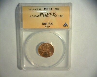 1970 S/s Lincoln Cent, Rpm # 1 Top 100 Anacs Ms-64 *us Error Coin*