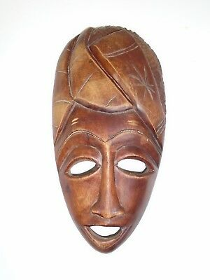 """Vintage African Art Mask Wood Wall Decoration Hand Carved Ethnic Tribal 12"""""""