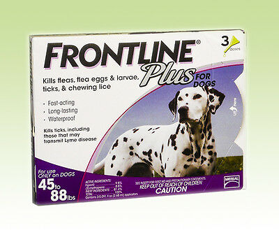Frontline Plus lea & tick  for Dogs 45-88lbs Purple 3 Pack USA EPA Approved