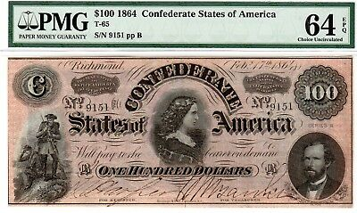 T-65 PF-3 $100 1864 Confederate Paper Money - PMG Choice Uncirculated 64 EPQ!!