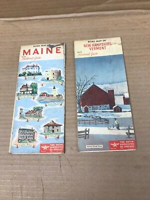 2 Vintage Original Flying A Tydol 1954 New Hampshire, Vermont, Maine Road Map
