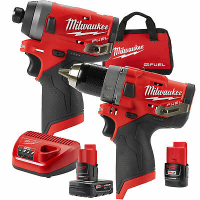 "Milwaukee 2596-22 M12 FUEL 1/2"" Drill Driver+1/4"" Hex Impact w/2ah,4ah Batts New"