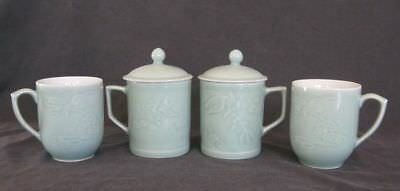 Lot of 4 Chinese Celadon Green Cups Mugs 2 with Lids Signed Mint