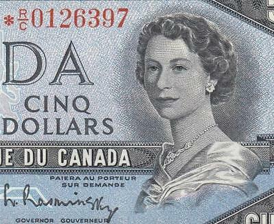 1954 BANK OF CANADA QEII $5 **STAR NOTE** (( aUNC ))