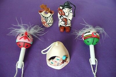 LOT 5 Ornaments Rattle Bell Figure Pueblo HOPI Native American Indiansome SIGNED