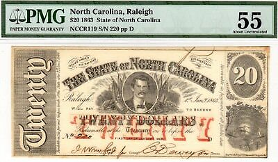 NC-35 CR-119 $20.00 North Carolina Paper Money 1863 - PMG About Uncirculated 55!