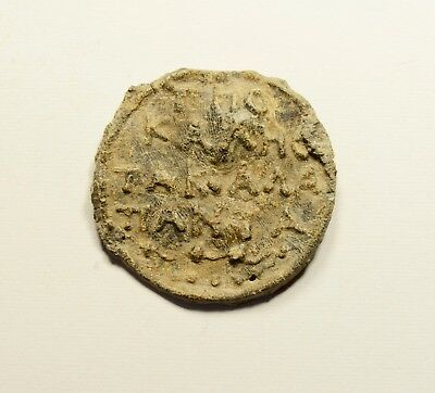 Very Rare Ancient Byzantine Lead Artifact - Seal? - Inscriptions