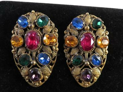 Pair Of Big Multi Stone Vintage Signed Coro Pegasus Fur Clips