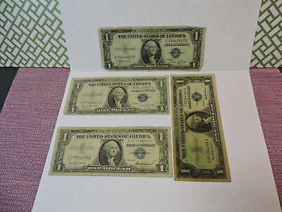 Lot of 4 United States $1 Dollar Silver Certificates 1935 B&G, 1957