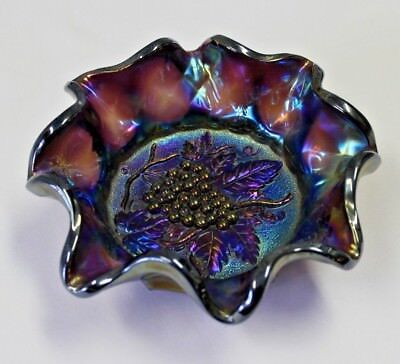 Antique  Carnival Glass - Heavy Grape by Imperial  / Radium Ruffled Candy Dish